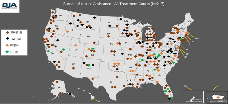 Map showing BJA-funded drug courts