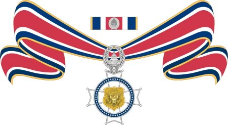 A color illustration of the state Badge of Bravery medal on a ribbon