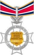 Color illustration of the reverse view of the federal Badge of Bravery medal on a ribbon