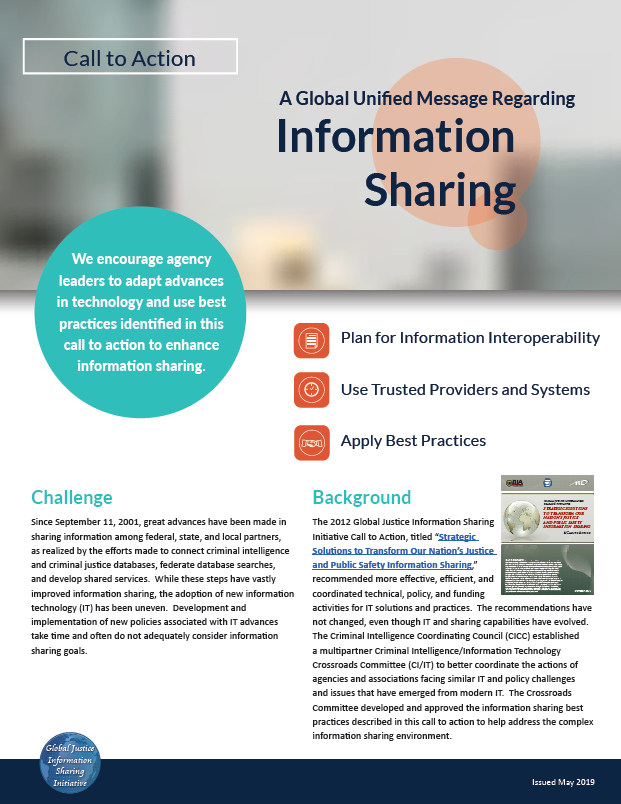 Thumbnail of the A Global Unified Message Regarding Information Sharing document