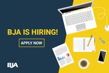 Office icons and announcement that BJA is hiring